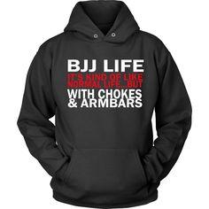 Show how much you love Brazilian Jiu Jitsu wearing BJJ game of chokes tee. Check more BJJ Martial Arts t-shirts & apparel. Techno Viking, Unique Funny Gifts, Electrician T Shirts, Brazilian Jiu Jitsu, Hoodies, Sweatshirts, Shirt Outfit, Long Sleeve, How To Wear
