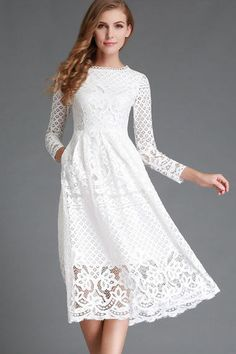Dresses High Quality Hollow Out Elegant White Lace Dress Women Long Sleeve Casual Dress Elegant Party Dresses, Lace Party Dresses, Casual Summer Dresses, Trendy Dresses, Long Dresses, Dress Long, Dress Casual, Dress Summer, White Lace