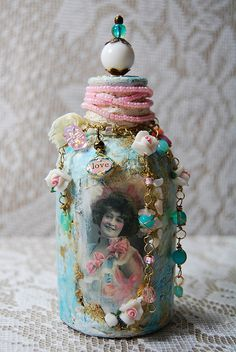 altered bottle - zinniatreasures