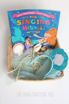The Singing Mermaid Sensory Storytelling Basket - The Imagination Tree Eyfs Activities, Literacy Games, Early Literacy, Activities For Kids, Nursery Activities, Beach Activities, Preschool Literacy, Kindergarten, Child Love