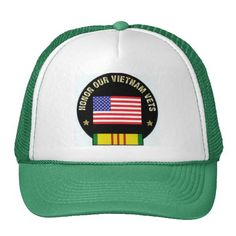 """Honor Our Vietnam Veterans Trucker Hats $16.95 -100% polyester foam front -Wide area to feature your design -100% nylon mesh back keeps you cool Adjustable from 17"""" to 24"""" Available in 11 color combinations  #Vietnam  #veterans  #vintage  #hat  #stanrails_store"""