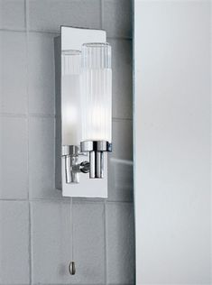 Over Mirror LIght Adjustable IP44 Chrome Finish Light With Partly Frosted Glass Tubes Supplied Mains Voltage G9 Haloge