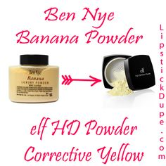 Check out this $6 Ben Nye Banana Powder Dupe from eyeslipsface! You get 8 grams of corrective yellow powder to really amp up your under eye highlight! #dupe #bennye #elf via @lipstickdupe from www.lipstickdupe.com
