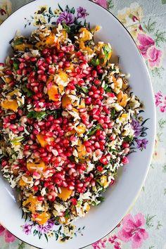 Jeweled Rice Salad - Chez Us - food glorious food - Vegan Recipes Rice Recipes, Vegetarian Recipes, Cooking Recipes, Healthy Recipes, Vegetarian Dish, Broccoli Recipes, Healthy Breakfasts, Sweet Recipes, Soup And Salad