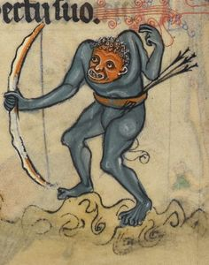 The mythological headless creature known as a Blemmyes. Believed to have had their eyes in their shoulders and mouth in their chests.  The Rutland Psalter.  Folios 57r, 88r 84r respectively.  Manuscript made in England, possibly in London circa AD 1260