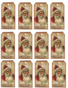 The Crafters Nestled Nook: Freebie Vintage Santa Hang Tag Sheet