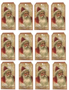 Freebie Vintage Santa Hang Tag Sheet