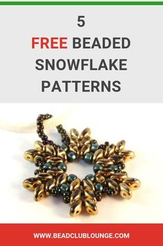 Here are some fun beaded snowflake patterns just in time for the holidays. Use these beautiful snowflake projects to create jewelry for yourself, to give as gifts or even as Christmas ornaments you can hang your your tree. All of the jewelry making tutori Bead Embroidery Patterns, Beaded Jewelry Patterns, Beading Patterns, Fun Patterns, Mosaic Patterns, Bracelet Patterns, Beaded Christmas Ornaments, Christmas Jewelry, Snowflake Ornaments