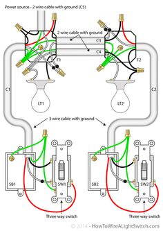 How to wire a 2 way light switch in australia wiring diagrams two lights between 3 way switches with the power feed via one of the light switches interruptores de tres vias publicscrutiny Gallery