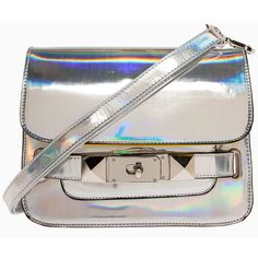 Holographic Studded Satchel ($40) found on Polyvore
