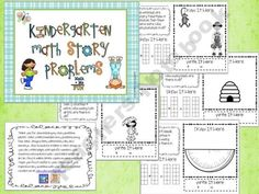 Common Core Math Story Problems, Kindergarten, 1st grade, 45 pages