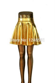 lady skater skirt above knee mini skirt metallic liquid skirt S/M/L/XL
