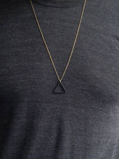 BLACK Balance Triangle Necklace, Matte Black Pendant, Unisex Mens Necklace, Long Necklace, Bohemian Fringe - The Effective Pictures We Offer You About Accessories handmade A quality picture can tell you many - Simple Necklace, Simple Jewelry, Men Necklace, Boho Necklace, Metal Jewelry, Fine Jewelry, Layered Necklace, Brass Necklace, Bohemian Jewelry