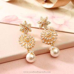 Diamond Fancy Earrings with Pearls. #diamonds #pearl #fancyearrings