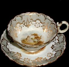 This fancy porcelain cup and saucer set is in Coalport's Adelaide shape, and dates between The ground is a soft celadon gray, and there Cup And Saucer Set, Tea Cup Saucer, Antique Tea Cups, Vintage Teacups, China Tea Cups, Teapots And Cups, Tea Art, Tea Service, Tea Time