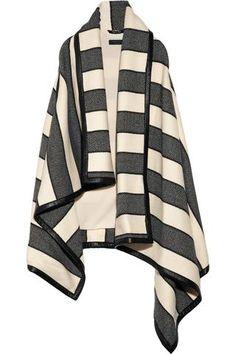 Rag & bone|Leather-trimmed striped woven wool-blend blanket vest|NET-A-PORTER.COM