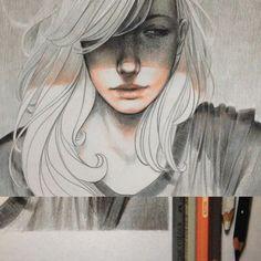 """ 3/4 Lux "" - 9.8""x9.8"" pencil color on paper  ..."