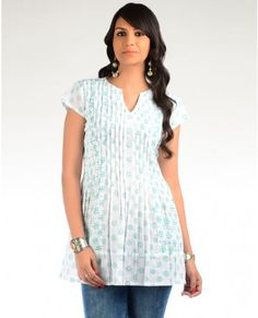 White and Turquoise Block Printed Tunic