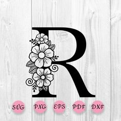 Flower Alphabet, Flower Letters, Witch Clipart, Cricut Craft Room, Letter Stencils, Tattoo Stencils, Calligraphy Alphabet, Calligraphy Fonts, Silhouette Cameo Projects