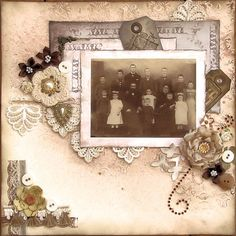 My Family...the soft peach color palette perfectly accentuates the faded tones of this lovely layered framed photo.