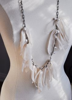 Lanvin necklace DIY + long chain necklace with drop pearls & nude fabric by ...love Maegan, via Flickr