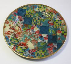Asian Style Decoupaged Glass Plate: Checkerboard Fans Decoupage Glass, Homemade Cookies, Going Home, Asian Style, Pattern Paper, Mantle, Safe Food, Color Splash, Clear Glass