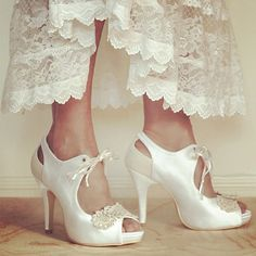 Ladies Vintage Bridal Shoes with Ivory and White flowers. Peep toe with ankle ribbons. Any SIze. Custom made. on Etsy, $170.81