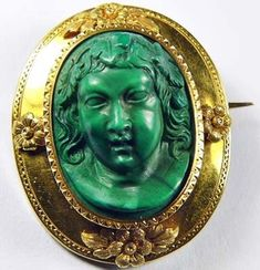 Early rare malachite cameo   Collectors Weekly