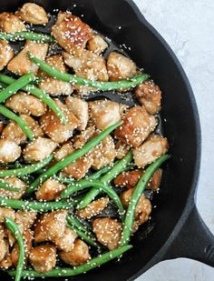 Want to try: Simple Sesame Chicken Skillet I howsweeteats.com (I'd skip the brown sugar and use apple cider vinegar instead of white vinegar, for health reasons).