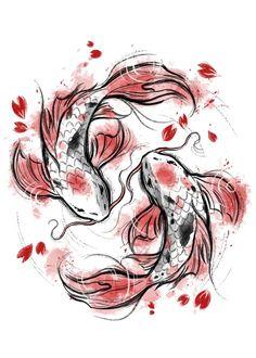 Japanese Koi Fish Tattoo, Koi Fish Drawing, Fish Drawings, Cool Drawings, Japanese Drawings, Japanese Art, Japanese Dragon, Aesthetic Drawing, Aesthetic Art