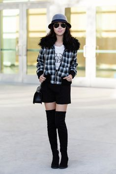 Rachel Zoe 'Cassidy' Genuine Fur Collar Bomber Jacket, bomber jacket, alice + olivia High Waisted Shorts, Pam & Gela Tee, Alice +Olivia over the knee boots, OTK boots, winter style, black and white, casual chic, Grace Hats collaboration, Ray-Ban original aviator, Chanel boy bag