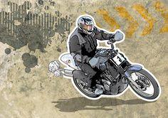 http://suandroll.com/ilustracion/ Ilustración MOTO grunge de Su and Roll · Diseño gráfico y Comunicación