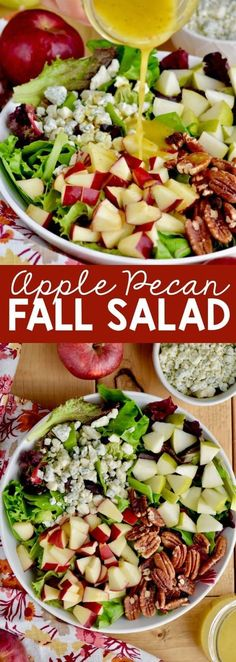 This Apple Pecan Fall Salad is perfect for autumn, topped with a honey mustard d. This Apple Pecan Fall Salad is perfect for autumn, topped with a honey mustard dressing this is perfect for a holiday or just a hearty lunch! Healthy Salad Recipes, Vegetarian Recipes, Cooking Recipes, Healthy Meals, Lunch Salad Recipes, Easy Green Salad Recipes, Salad Recipes For Parties, Vegetarian Salad, Healthy Chicken