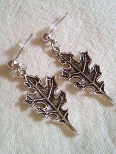 Pretty Tibetan Silver Leaf Earrings With Stainless Steel Post Free Shipping by PersnicketyPatty on Etsy