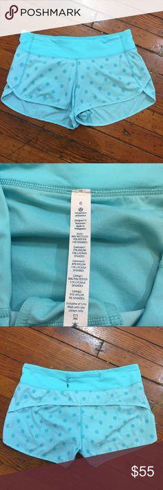 "Lululemon Blue Polka Dot Running Speed Shorts RARE Excellent Condition! Across the Waist: 15"" Length: 9"" Inseam: 3"" lululemon athletica Shorts"