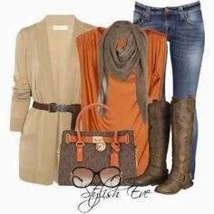 Creamy cardigan, scarf, handbag and long boots for fall Fun and Fashion Blog by adriana