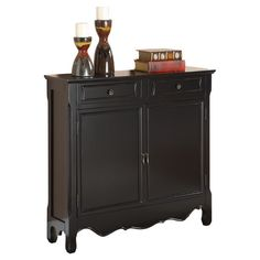 Two-door cabinet with a scalloped apron.      Product: Console     Construction Material: MDF, solid wood slide rail, ...