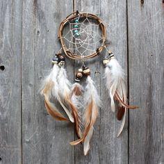 Small Dream Catcher - Turquoise - Boho Dreamcatcher - Car Sized - Native American Inspired - Hippie - Car Dreamcatcher - Boho - Handmade