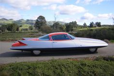 The epitome of 1950s aerodynamic styling, the 1955 Turbine powered Chrysler Gilda Streamline X  that sought to emulate the jet fighters of the day,...