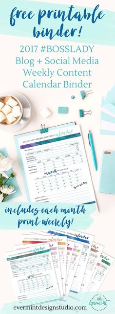 Get the FREE Printable Binder - 2017 Blog + Social Media Weekly Content Calendar // Looking to streamline your weekly content planning strategy? Download my 2017 Weekly Content Planner Binder and get organized with your weekly social media, blog and newsletter content. Includes March - December 2017 at-a-glance Calendar // Print weekly to stay on top of your goals and content planning for the week. Click here to visit EverMint Design Studio // http://www.evermintdesignstudio.com