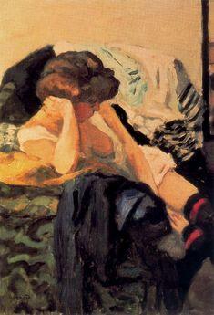 Les Jarretières rouges    by Pierre Bonnard,1905. Oil on canvas.