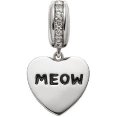 """Hsus Crystal Sterling Silver """"Meow"""" Heart Bead ($35) ❤ liked on Polyvore featuring jewelry, pendants, black, bead charms, crystal jewelry, crystal heart charm, animal jewelry and sterling silver bead charms"""