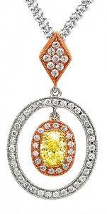 Tri-tone white and yellow diamond Simon G pendant!
