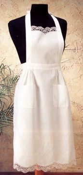 White Embroidered Cluny Lace Cotton Apron