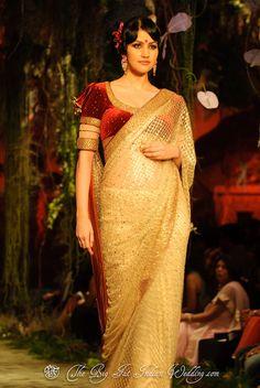 Tarun Tahiliani at Aamby Valley India Bridal Fashion Week 2012 Indian Bridal Fashion, Bridal Fashion Week, Indian Dresses, Indian Outfits, Indian Clothes, Golden Saree, Velvet Saree, Party Sarees, Tarun Tahiliani