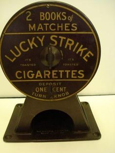 icollect247.com Online Vintage Antiques and Collectables - Lucky Strike Coin Op Match Dispenser Coin Op and Vending-