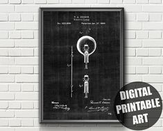 Items similar to Light Bulb Patent Thomas Edison Light Bulb, Us Patent, Patent Prints, Printable Wall Art, Printables, Unique Jewelry, Etsy, Design, Print Templates