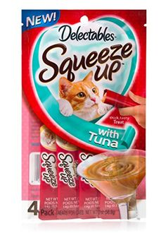 Hartz Delectables Squeeze Up Cat Treat Tuna 4Ct Pack of 8 *** You can get more details by clicking on the image. (This is an affiliate link and I receive a commission for the sales)