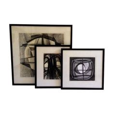 Vintage Abstract Charcoal Drawings - Set of 3 - $895 on Chairish.com