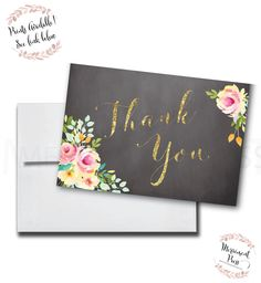 Chalkboard Thank You Card// Made to Match // Folded Thank You // A7 // Peach // Mint // Gold Glitter //Instant Download // VENICE COLLECTION by MerrimentPress on Etsy https://www.etsy.com/listing/267151822/chalkboard-thank-you-card-made-to-match